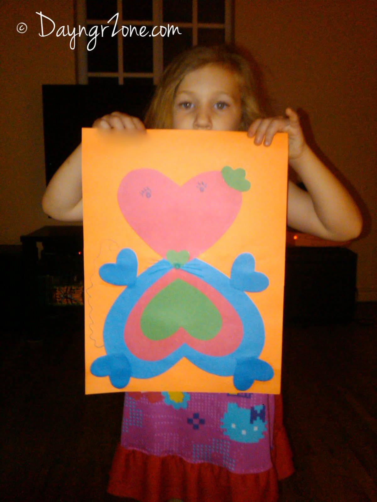 Kid Heart Art, simple Valentine's Day school project
