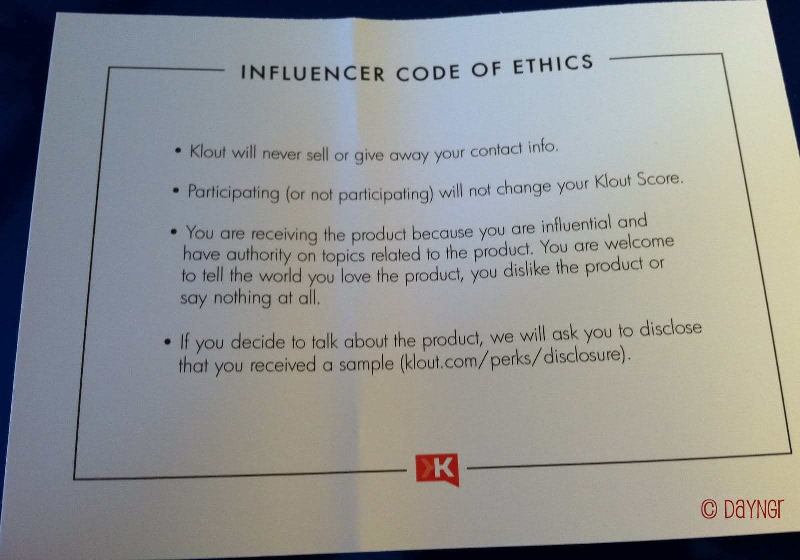Kout Influencer Code of Ethics