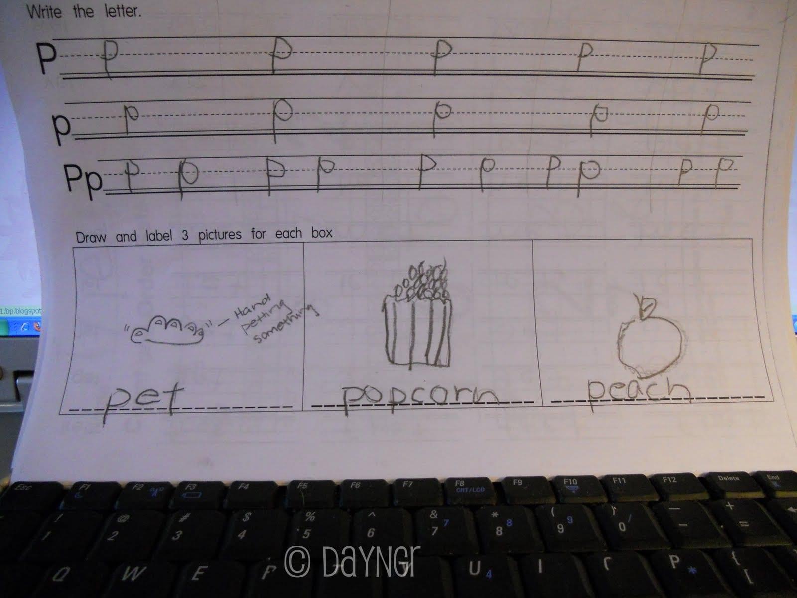 kindergarten worksheet, letter P