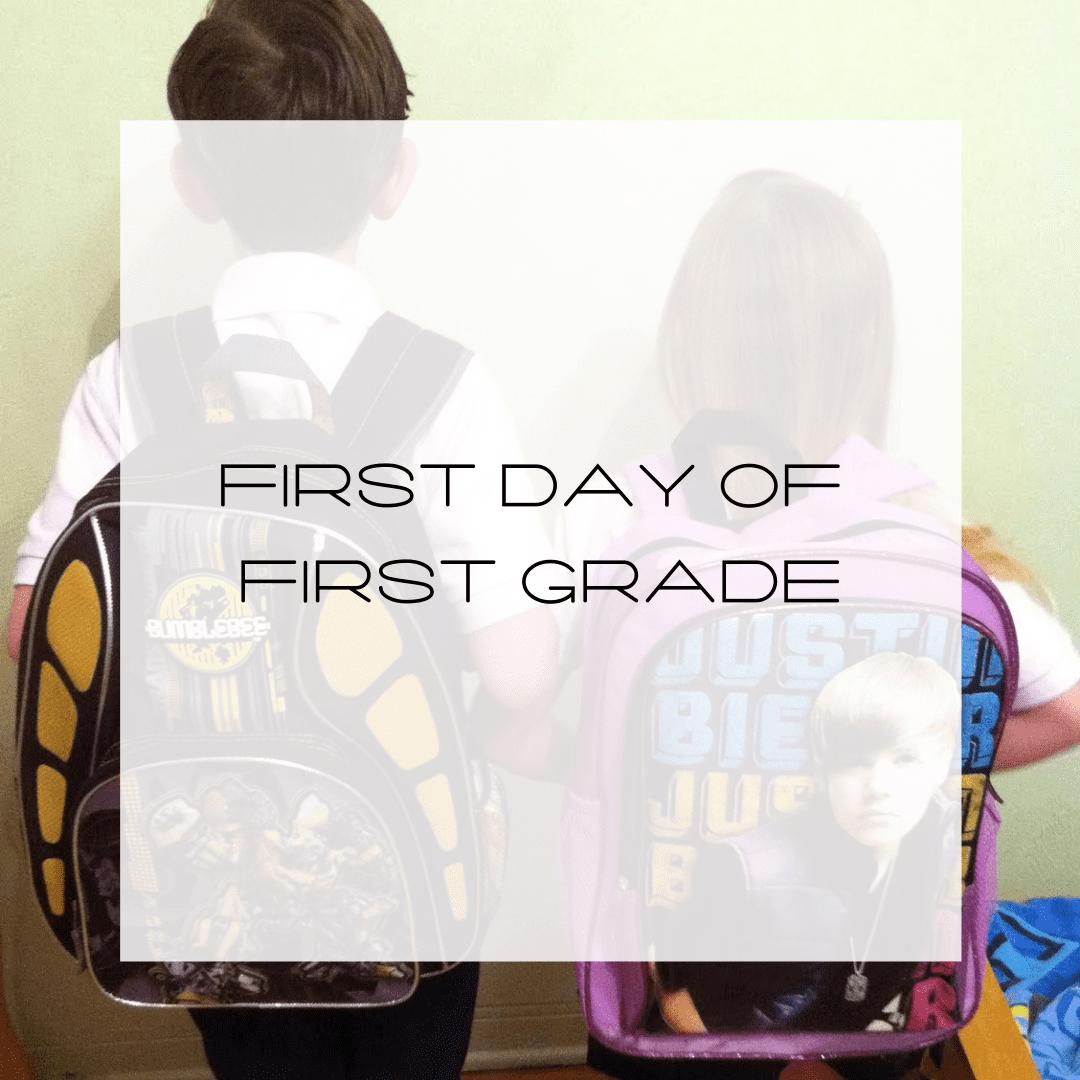first day of first grade, justin bieber backpack, transformer backpack, first day of school, first grade