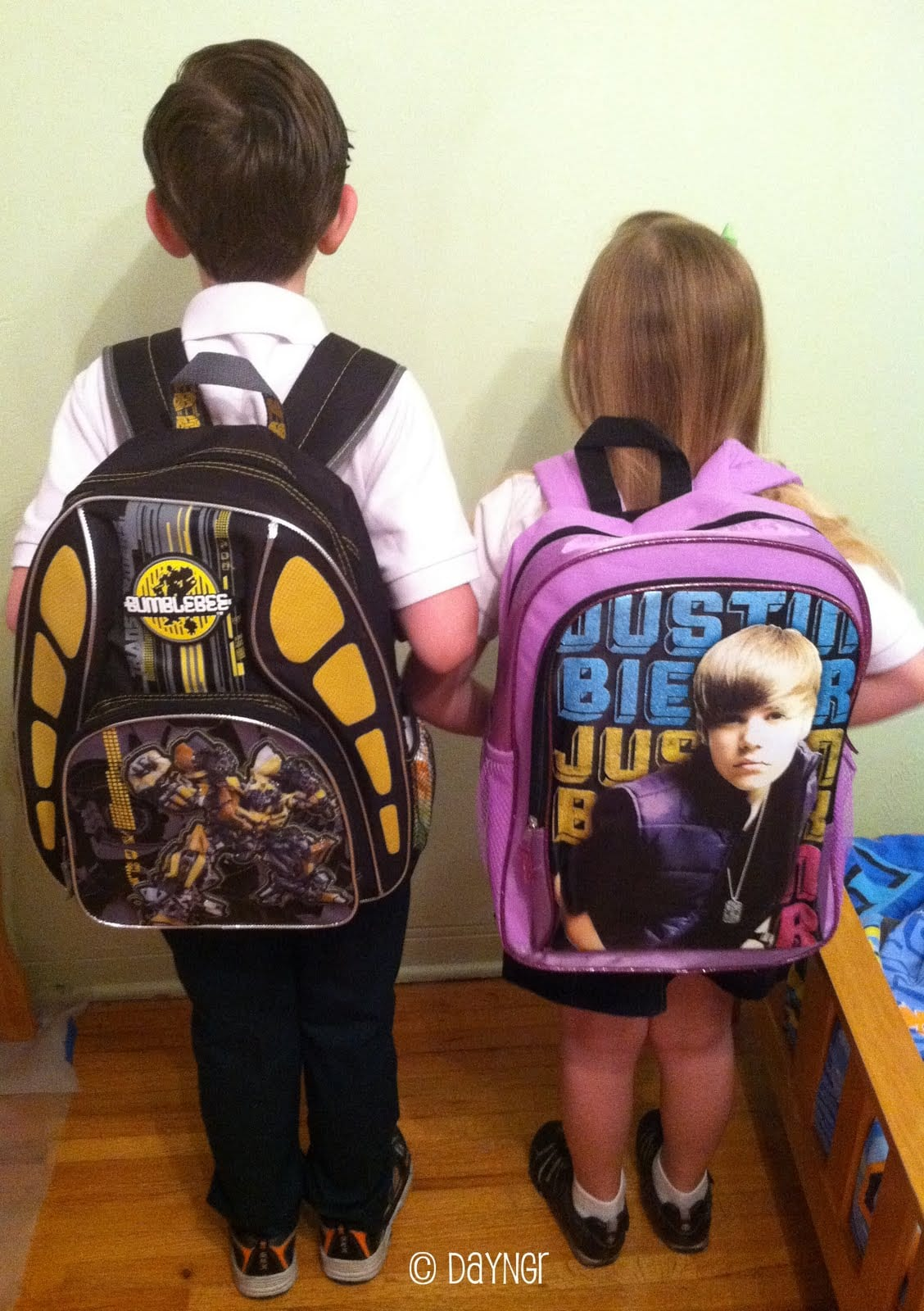 first day of first grade, justin bieber backpack,