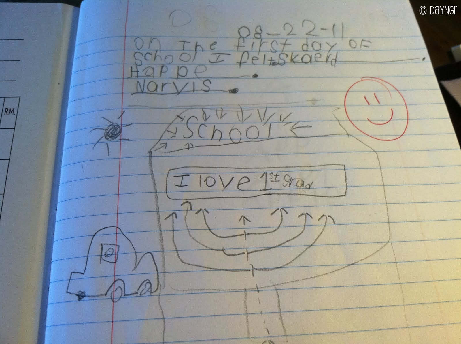 first grade writing, child's handwriting, first grade observations