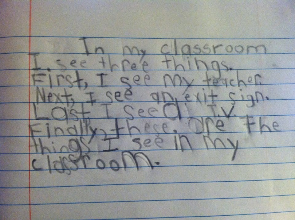 1st grade writing, first grade writing, things-I-see-in-my-first-grade-classroom
