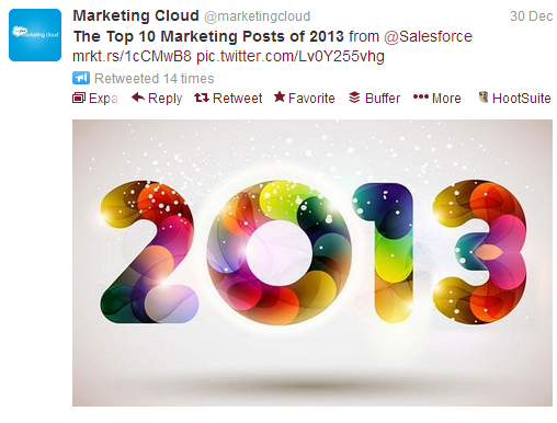 Top Marketing Posts 2013 Marketing Cloud Tweet