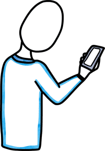 cartoon pic of person looking at cell phone