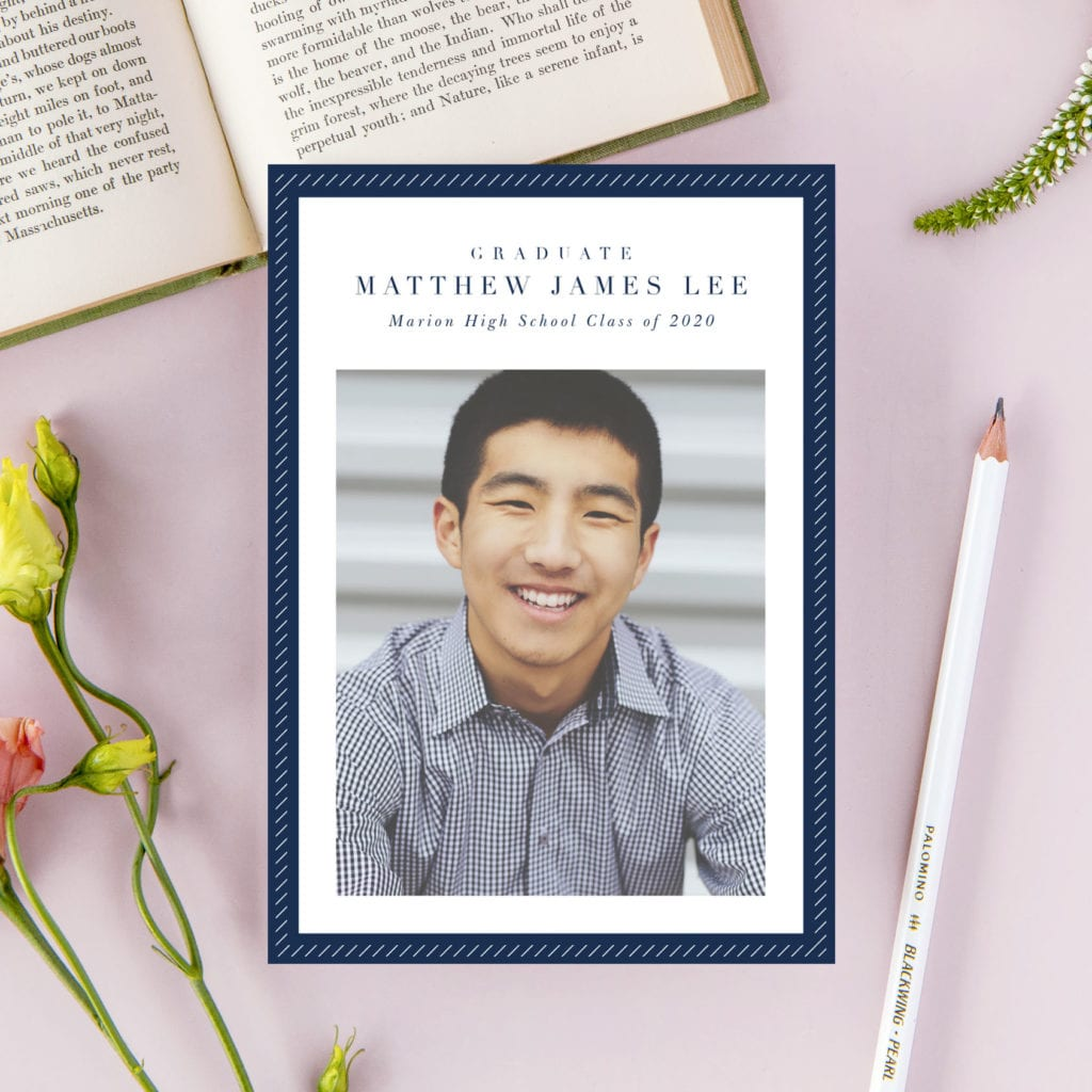 Masculine Graduation Announcement in Navy and White